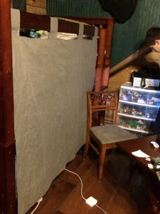 Full bunk privacy curtain and antique chair recovered.